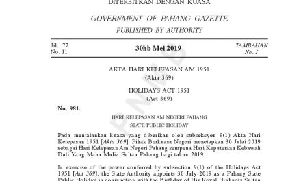 Amendment of the Date of Public Holiday for the Birthday of His Royal Highness the Sultan of Pahang